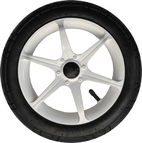 "Focus, 12"", plastic wheel, white, rubber or EVA tire"