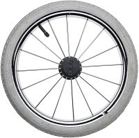 "14"" metal wheel, bearing, white tire"